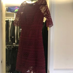 Kay Unger burgundy dress